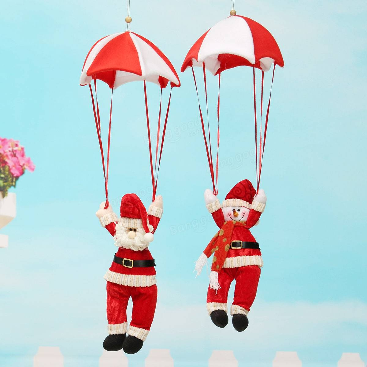 Santa claus snowman in parachute christmas tree hanging xmas ornament decoration