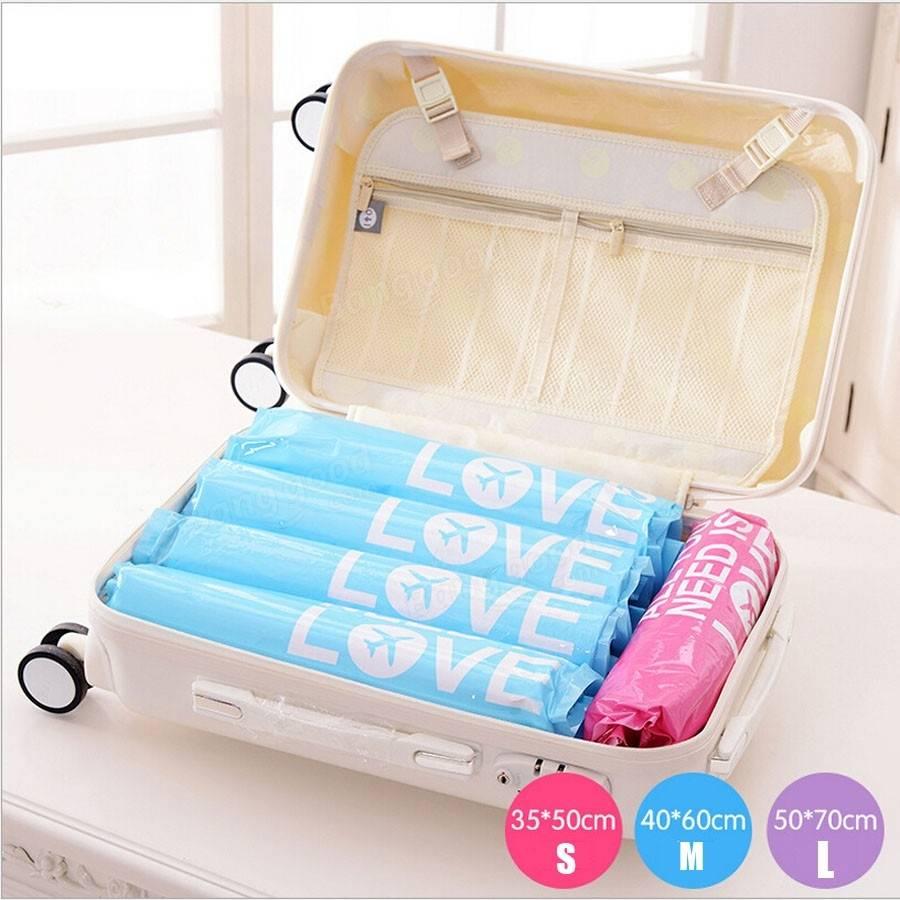 2pcs Travel Vacuum Waterproof Storage Bag Clothes Space