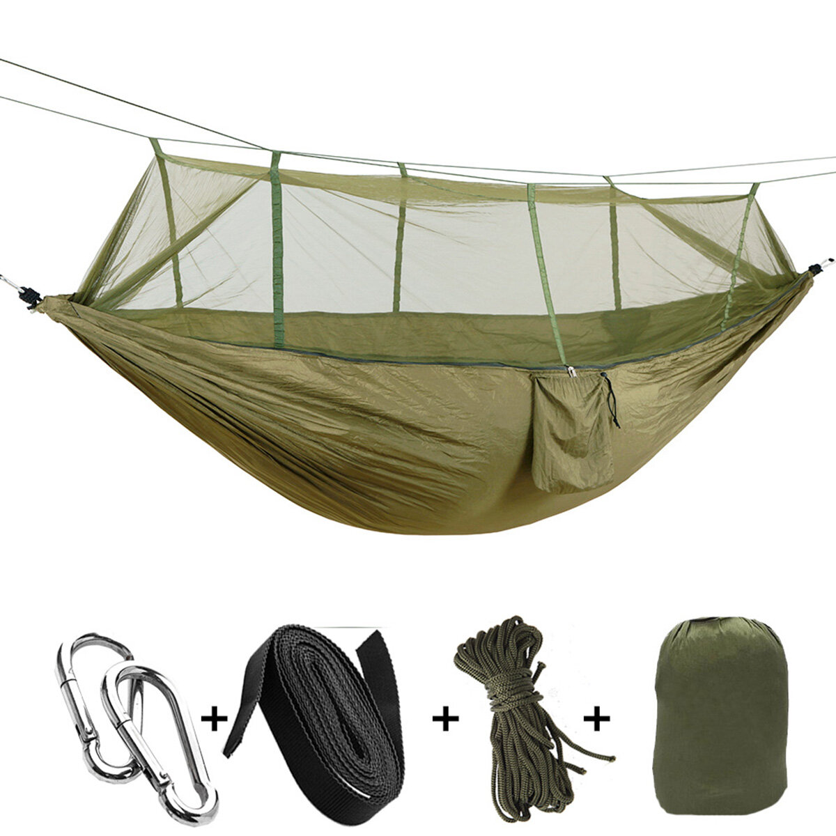 Portable Double Hammock With Mosquito Net Bed Outdoor Camping Sport Us Hammocks Sporting Goods