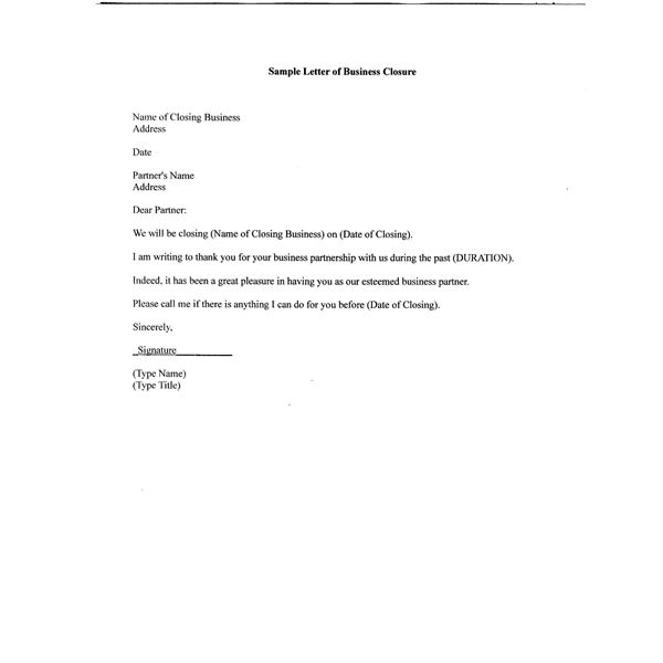 Free Sample Letter of Business Closure for Your Partners, Customers