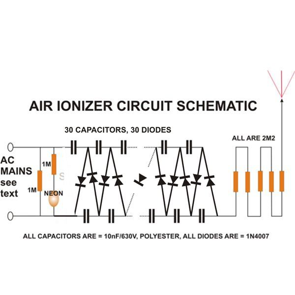 build an air ionizer purifier circuit at home