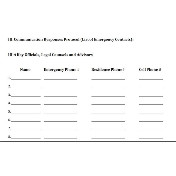 emergency call list template - emergency contact form template