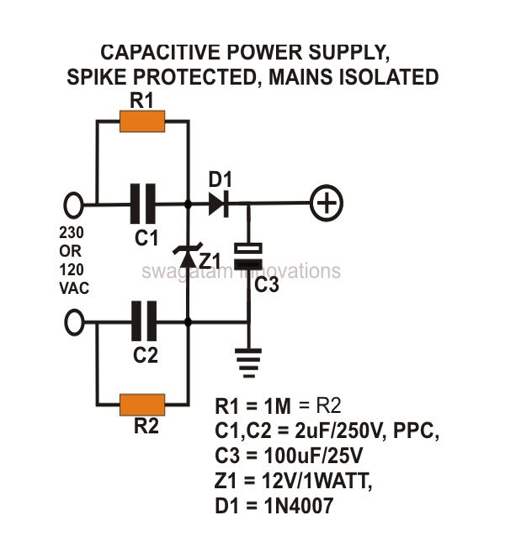 capacitive transformer less power supply circuit diagram