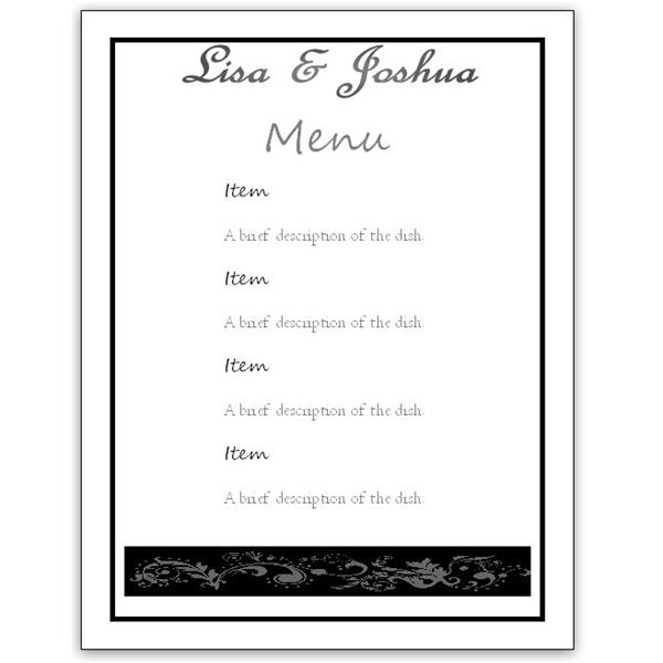 Download a Free Wedding Menu Card Template DIY and Save Money!