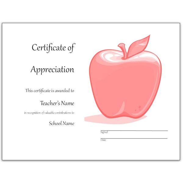Free Teacher Appreciation Certificates Download Word and Publisher - free appreciation certificate templates