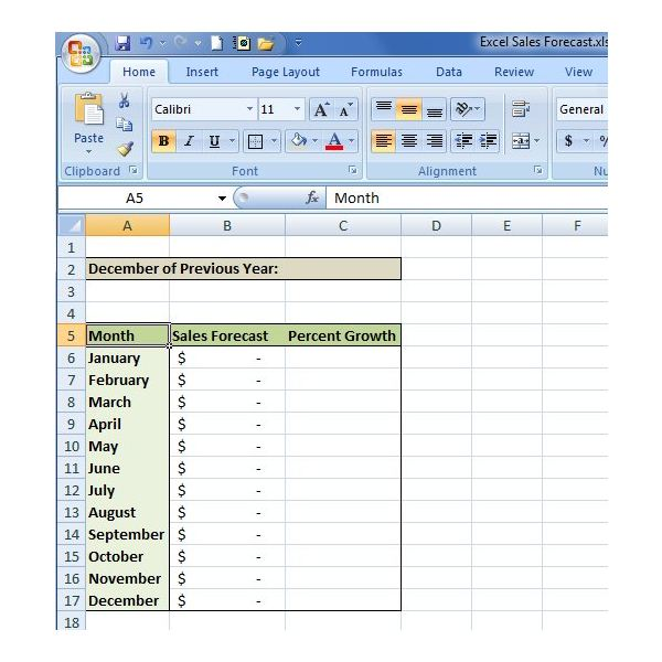 How to Create a Sales Forecast in Excel - Free Excel Sales - creating formulas in excel