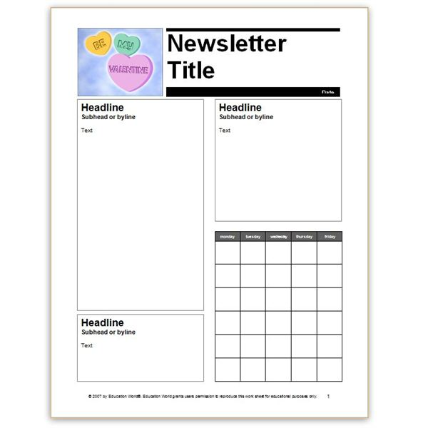 school newsletter template word - Onwebioinnovate