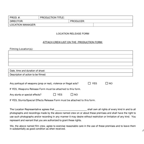 Student Film Production Forms What Types of Forms and Contracts You - Actor Release Forms
