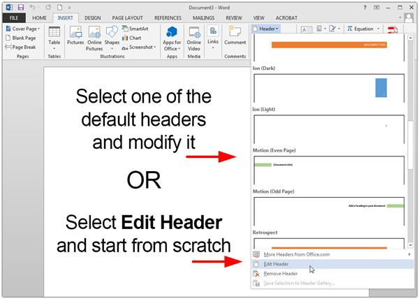 Creating Customized Headers in Microsoft Word 2013 - on word