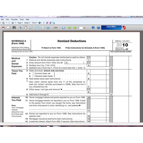 Answers to Commonly Asked Tax Questions - Schedule A Form