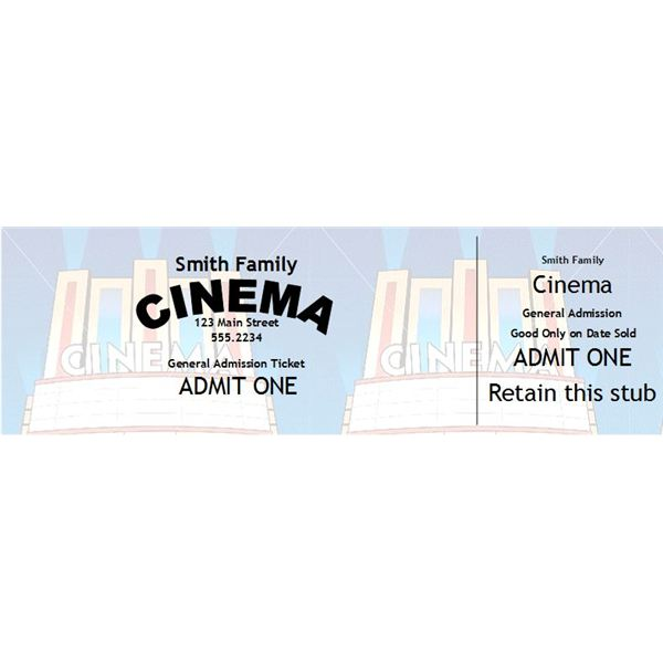 Home Theater Gift Ideas - movie theater ticket template