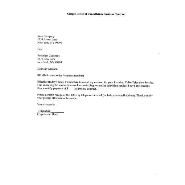 How to Write A Sample Letter of Cancellation Business Contract - no dues letter format