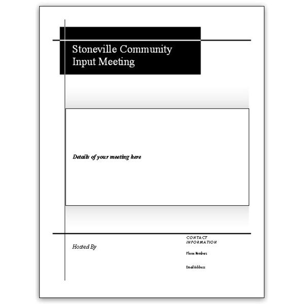 5 Microsoft Publisher Flyer Templates for Community Meetings - black and white flyer template