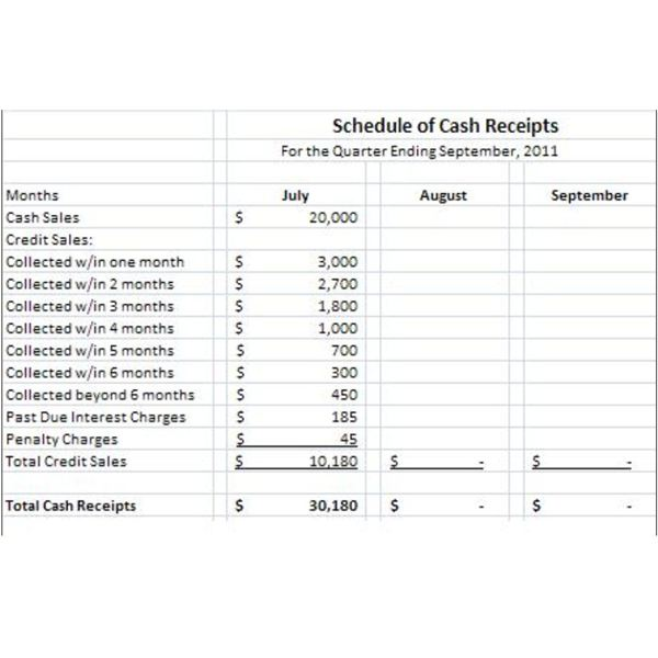 Sample Schedule of Cash Receipts Understanding Its Use--and the Users - cash receipt