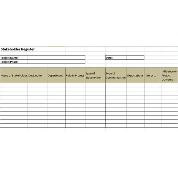 Example of a Stakeholder Register and a Stakeholder Register Template - log template sample