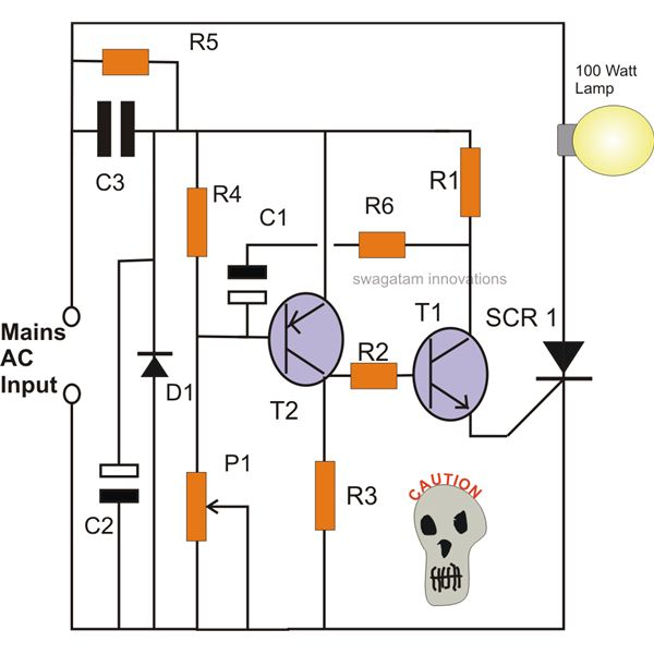 D Rudiant Lamp Flasher Circuit Using Scr