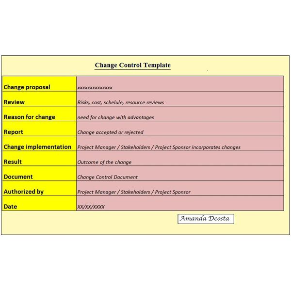 A Project Manager\u0027s Change Control Document