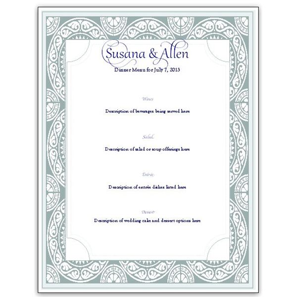 menu card template - dinner party menu template