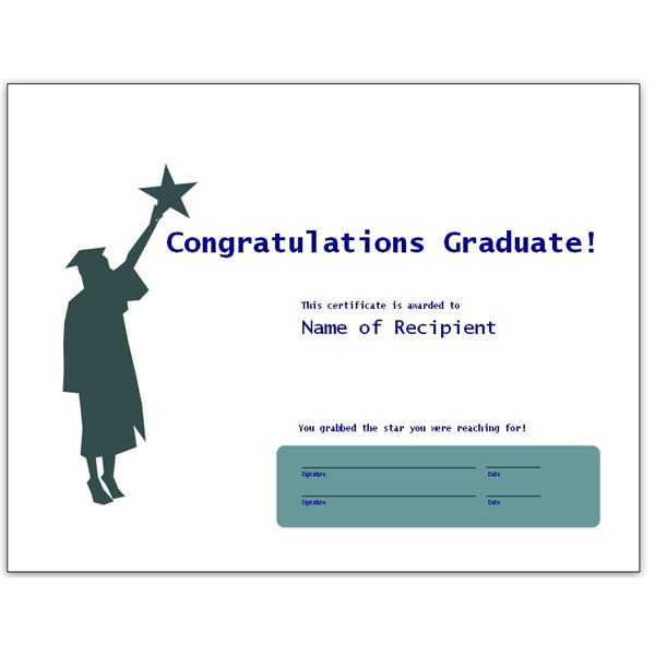 Congratulatory Graduation Certificates Free Downloads for MS Word - congratulations certificate templates