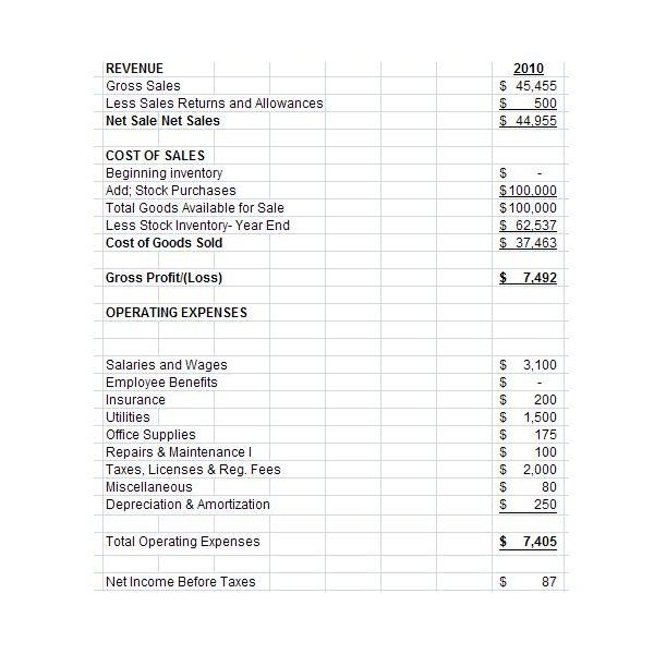 Free Downloadable Excel Pro Forma Income Statement for Small and New - Sample Simple Income Statement