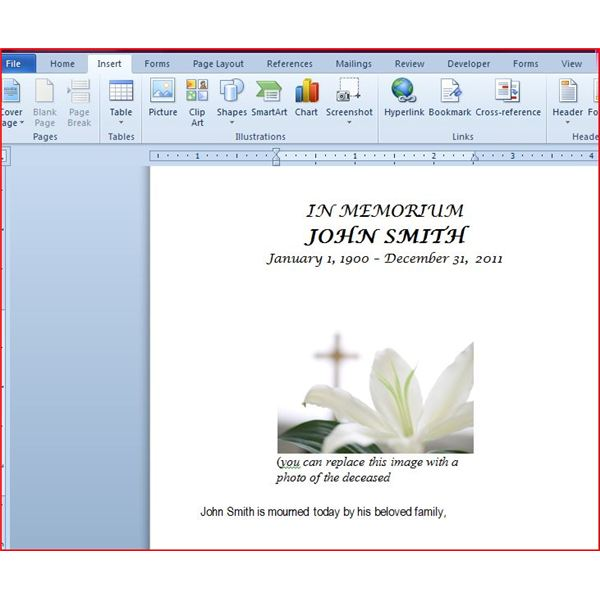 Free Microsoft Word Funeral Program Template - free funeral program template for microsoft word
