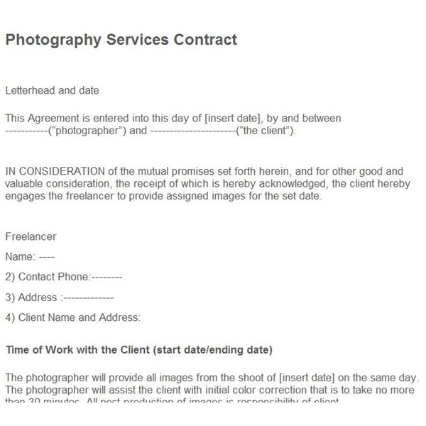 Where to Find Photography Business Forms Free Online - photography services contract