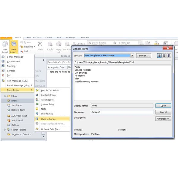 Creating, Saving and Using Microsoft Office 2010 Outlook Templates