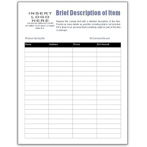 Free Bid Sheet Template Collection Downloads for MS Publisher - Bid Sheet Template Free