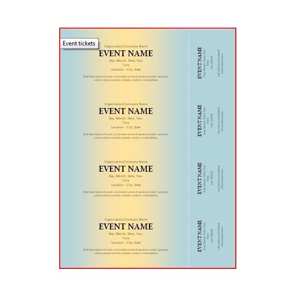 The Best Event Ticket Template Sources - Microsoft Word Event Ticket Template