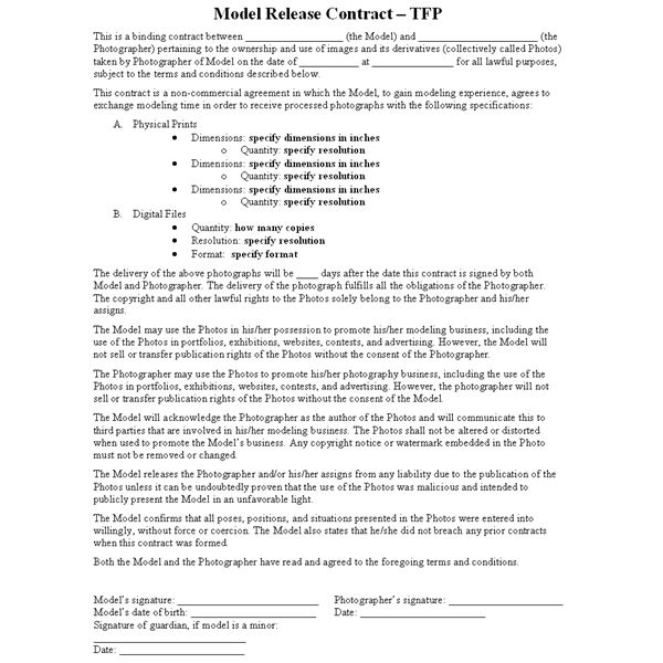 Release Agreements Pin Me What Is A Tfp Or Time For Prints Contract - sample artist contract template