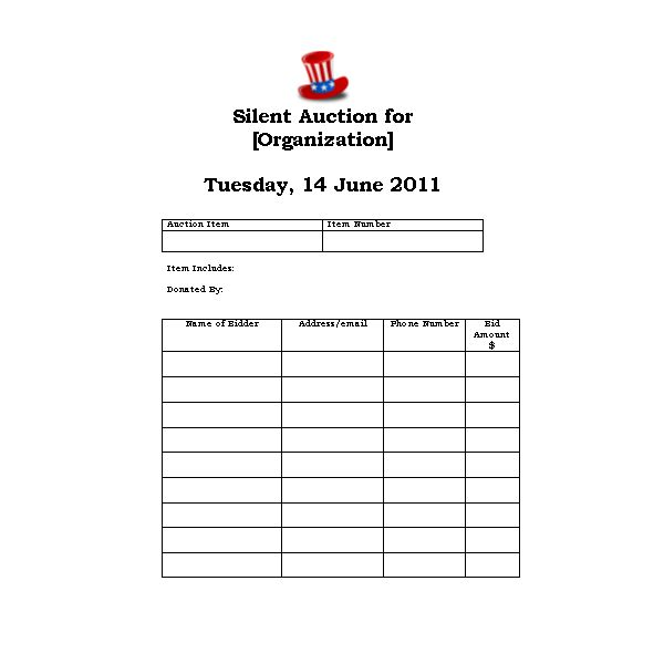 bid card template - Boatjeremyeaton - Bid Sheet Template Free