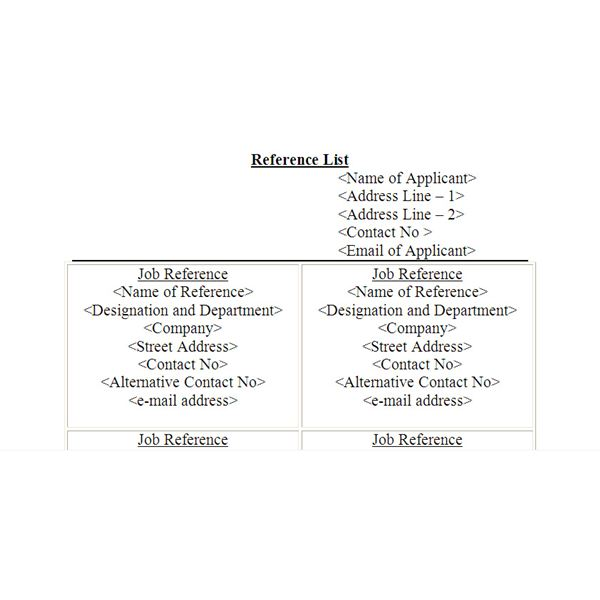 Reference List Template Resume