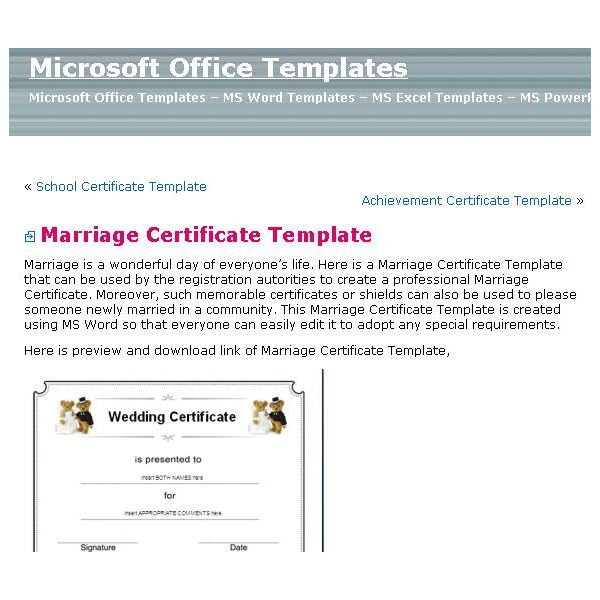 Top Sources for Printable Blank Marriage Certificates - wedding certificate template