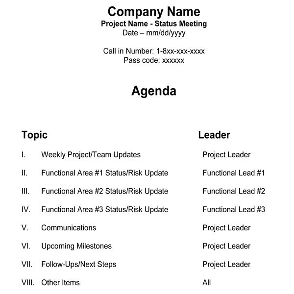 Free Team Meeting Agenda Template for Managers  Project Teams - example of agenda of meeting