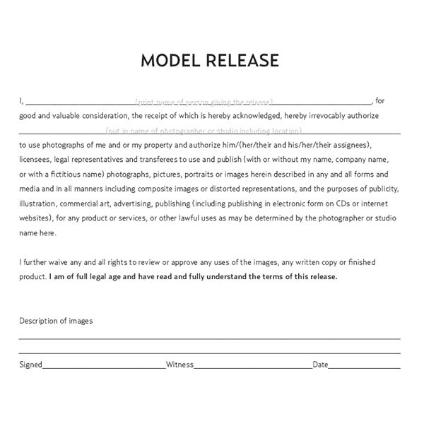 Understanding the Model Release Form and When a Photographer Should