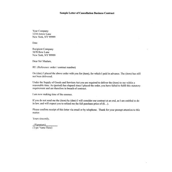How to Write A Sample Letter of Cancellation Business Contract - business contract