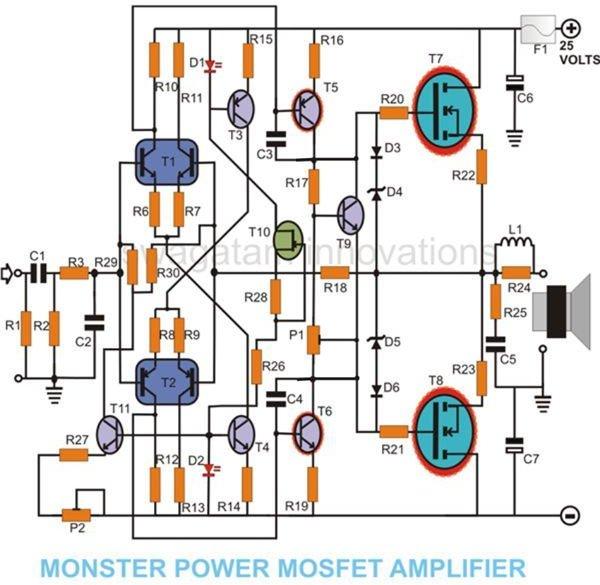How to Build a 100 Watt MOSFET Amplifier Circuit - Simple Design