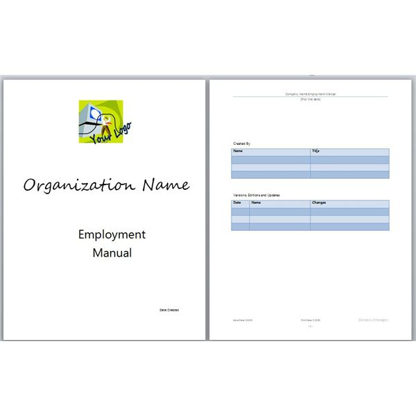 Microsoft Word Manual Template Basic and Employment Manuals to - Employee Manual Template