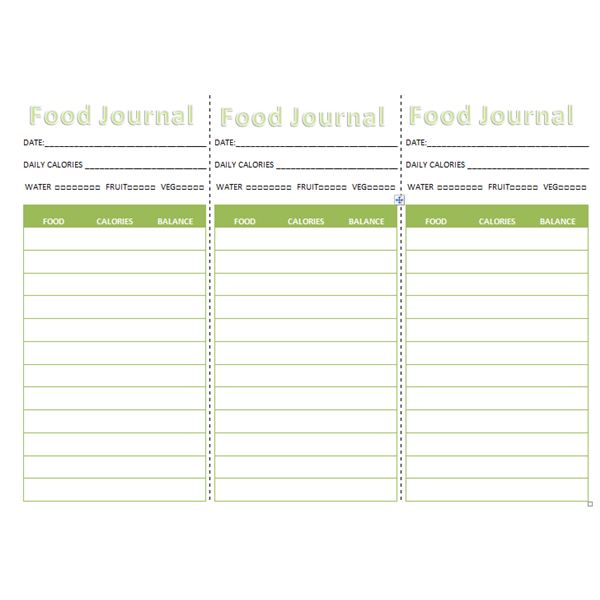 Three Downloadable Food Journals Pocket Journal, Refrigerator - food journal templates