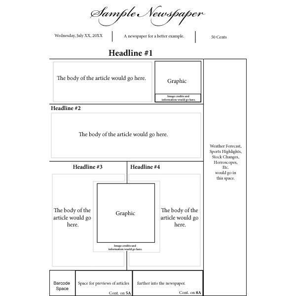 Options for a Nespaper Front Page Layout - newspaper headline template