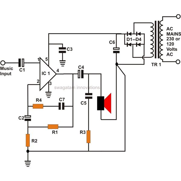 circuit diagram 10w car radio audio amplifier