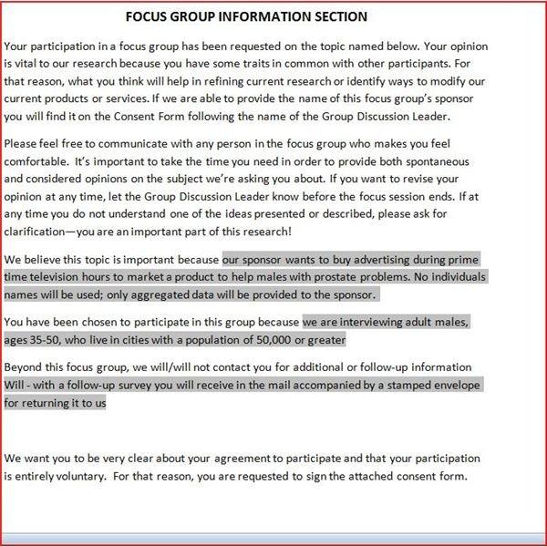 Free, Downloadable Focus Group Release Form - survey consent form