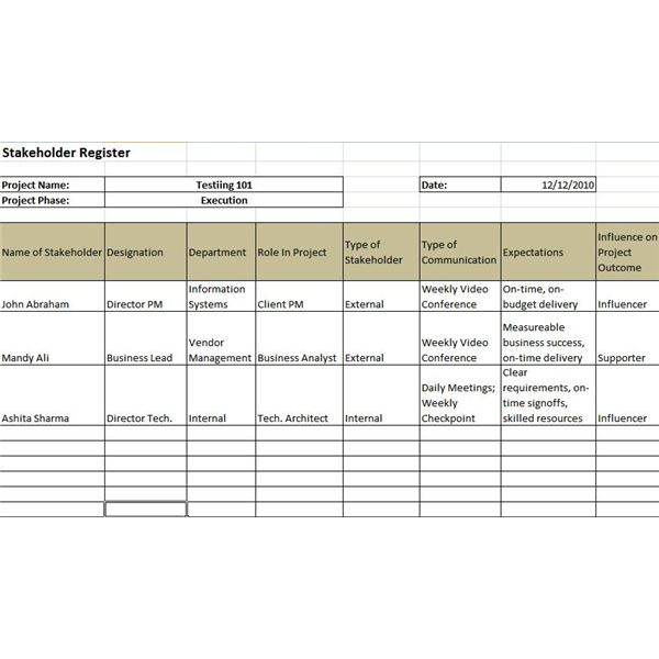 Example of a Stakeholder Register and a Stakeholder Register Template - Management Analysis Sample