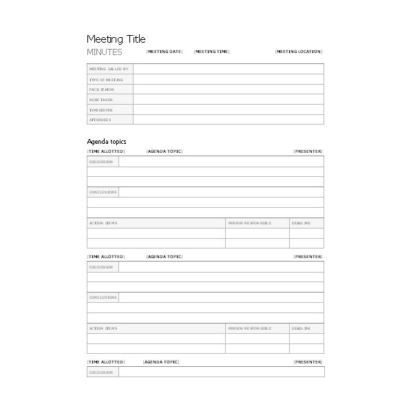 Free Templates for Business Meeting Minutes - meetings template