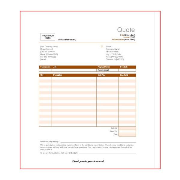 microsoft office quote templates