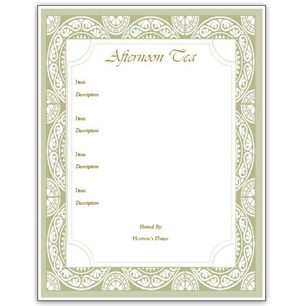 Hosting a Tea? Download an Afternoon Tea Menu Template for MS Publisher
