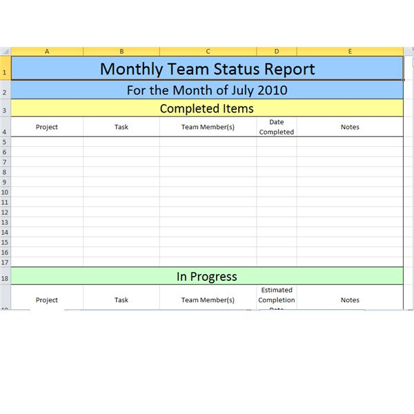 monthly status report template excel - Ozilalmanoof - monthly work report template
