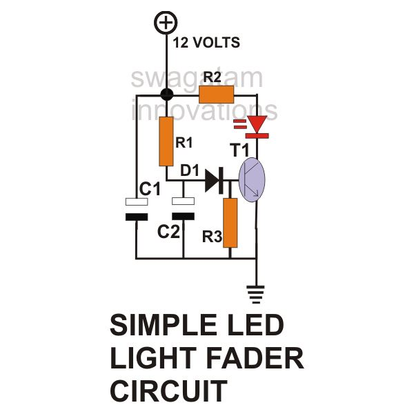 simple led light fader circuit diagram image