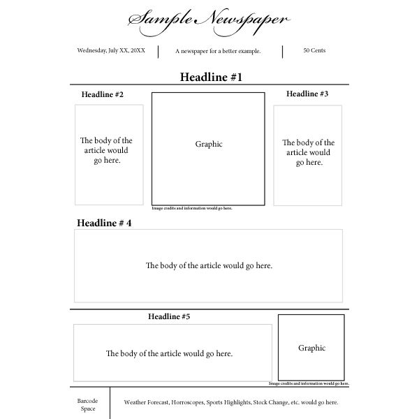 Options for a Nespaper Front Page Layout - cover page template example