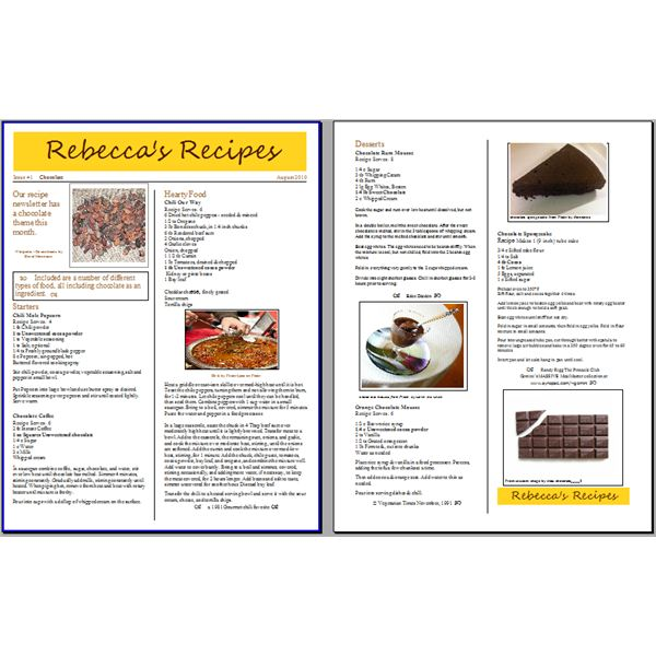 Tips for Creating a Recipe Newsletter or Cooking Pamphlet with Free - office newsletter